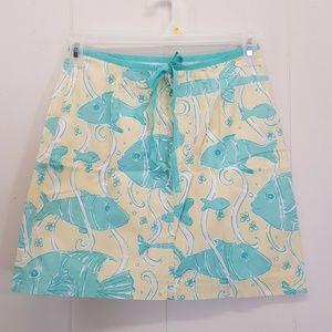 Lilly Pulitzer 2 Skirt Fish Yellow Aqua Blue Sea